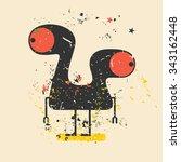 cute monster on retro grunge... | Shutterstock .eps vector #343162448