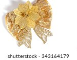 single shiny gift bow golden ... | Shutterstock . vector #343164179