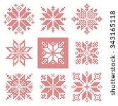 set of 9 cross stitch... | Shutterstock .eps vector #343165118
