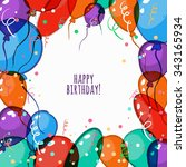 vector birthday card with... | Shutterstock .eps vector #343165934