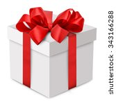 white gift box with red ribbon... | Shutterstock . vector #343166288