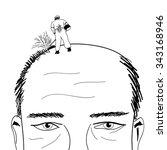 lawn mower shaving head of bald ... | Shutterstock .eps vector #343168946