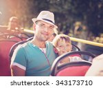 father with his son traveling... | Shutterstock . vector #343173710