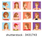 girl's portraits | Shutterstock .eps vector #3431743