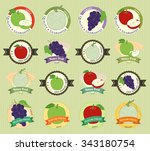 set of various fresh fruit... | Shutterstock .eps vector #343180754