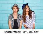 lifestyle portrait of two... | Shutterstock . vector #343183529