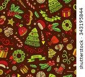 cartoon vector doodles new year ... | Shutterstock .eps vector #343195844