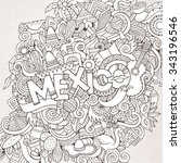 mexico country hand lettering... | Shutterstock .eps vector #343196546