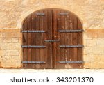 old weathered brown wooden... | Shutterstock . vector #343201370