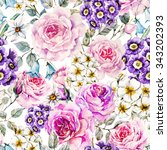 watercolor floral pattern with... | Shutterstock . vector #343202393