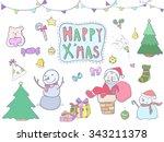 happy x'mas  christmas  new... | Shutterstock .eps vector #343211378