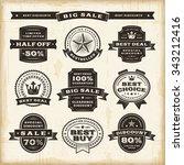 vintage sale labels set | Shutterstock . vector #343212416