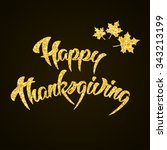 happy thanksgiving day gold... | Shutterstock .eps vector #343213199