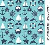 seamless marine pattern. sea... | Shutterstock . vector #343229954