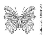 zentangle stylized butterfly.... | Shutterstock .eps vector #343235618