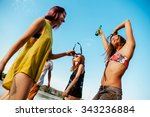 hipster friends having party at ... | Shutterstock . vector #343236884