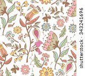 vector floral seamless pattern... | Shutterstock .eps vector #343241696