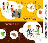 friends horizontal banners set... | Shutterstock .eps vector #343243028