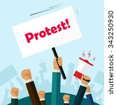 hands holding protest signs and ... | Shutterstock .eps vector #343250930