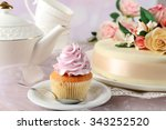 tasty cupcake on saucer  on... | Shutterstock . vector #343252520