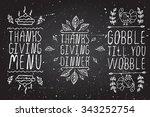 thanksgiving elements. hand... | Shutterstock .eps vector #343252754