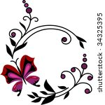 butterfly and flower ornament | Shutterstock .eps vector #34325395