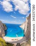 Stock photo navagio beach with shipwreck on zakynthos island greece 343257380