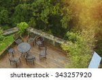 wooden deck surrounded by trees ... | Shutterstock . vector #343257920
