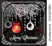 vector vintage christmas card... | Shutterstock .eps vector #343265384