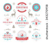 merry christmas and happy new... | Shutterstock .eps vector #343270958