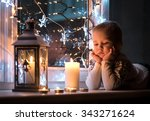 child at christmas eve and new... | Shutterstock . vector #343271624