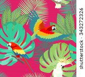 tropical seamless pattern with... | Shutterstock . vector #343272326