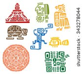 ancient mayan and aztec totems...   Shutterstock .eps vector #343278044