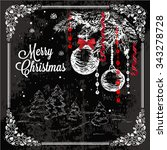 vector vintage christmas card... | Shutterstock .eps vector #343278728