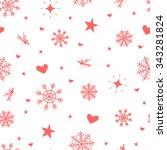 cute winter vector seamless... | Shutterstock .eps vector #343281824
