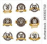 vector set of retro anniversary ... | Shutterstock .eps vector #343302710