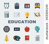 school education round icons... | Shutterstock .eps vector #343304144