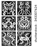 medieval celtic knot patterns... | Shutterstock .eps vector #343307624