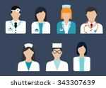 flat icons of medical... | Shutterstock .eps vector #343307639