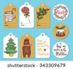 set of 9 creative christmas... | Shutterstock .eps vector #343309679