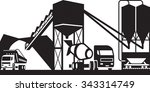 concrete plant with trucks  ... | Shutterstock .eps vector #343314749