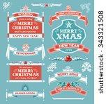 christmas set   labels  emblems ... | Shutterstock .eps vector #343321508