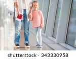 happy family with boarding pass ... | Shutterstock . vector #343330958