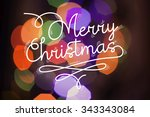 merry christmas greeting card ... | Shutterstock . vector #343343084