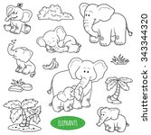 colorless set of cute animals...