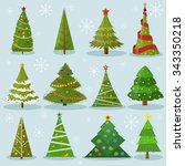 christmas trees vector image... | Shutterstock .eps vector #343350218