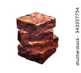 pieces of chocolate brownie ... | Shutterstock . vector #343357754