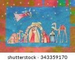 christmas nativity scene. jesus ... | Shutterstock . vector #343359170