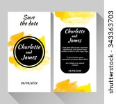 save the date card with hand... | Shutterstock .eps vector #343363703