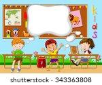 children learning in the... | Shutterstock .eps vector #343363808